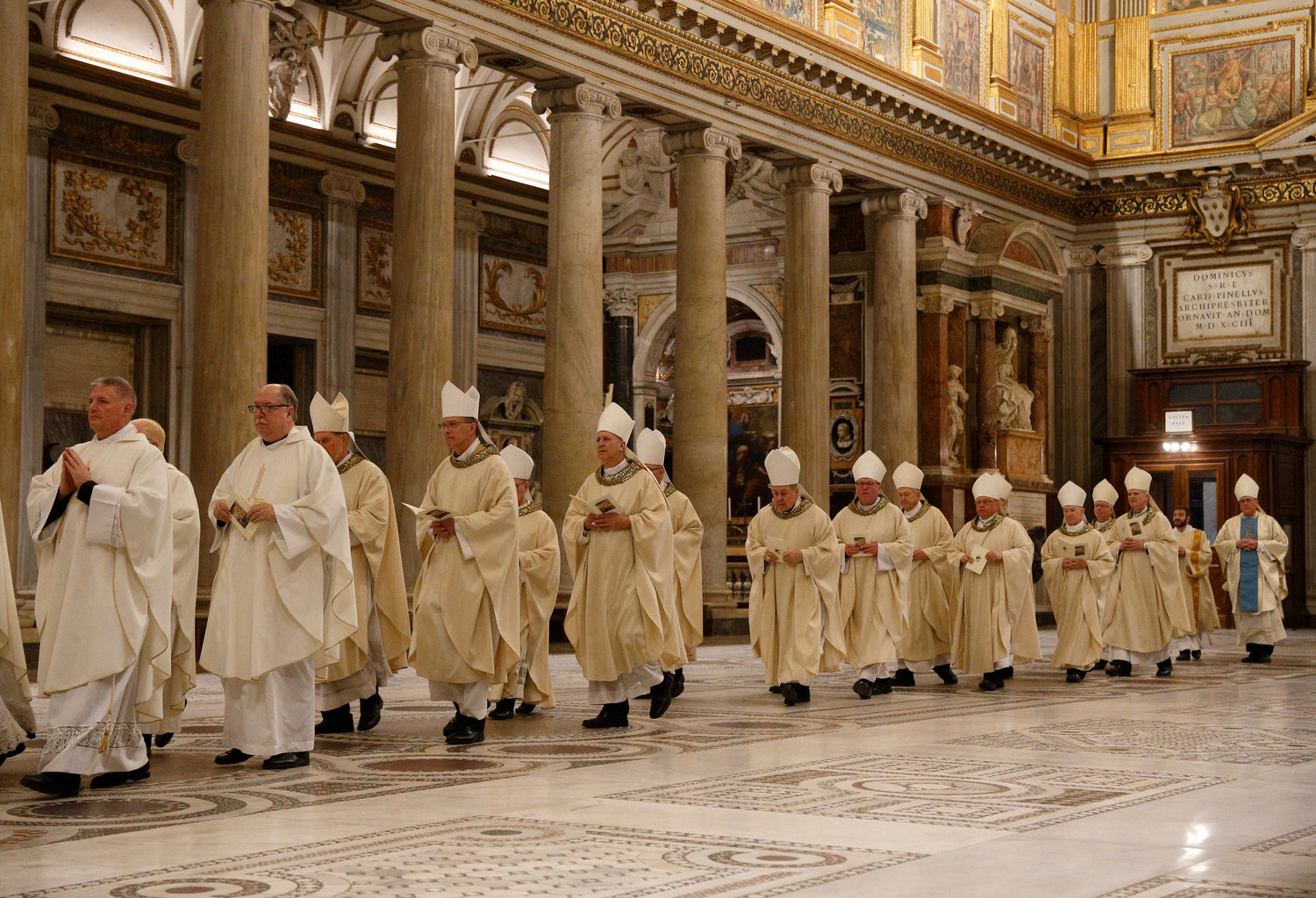 "U.S. bishops from Iowa, Kansas, Missouri and Nebraska arrive in procession to concelebrate Mass at the Basilica of St. Mary Major in Rome Jan. 14, 2020. The bishops were making their ""ad limina"" visits to the Vatican to report on the status of their dioceses to the pope and Vatican officials."