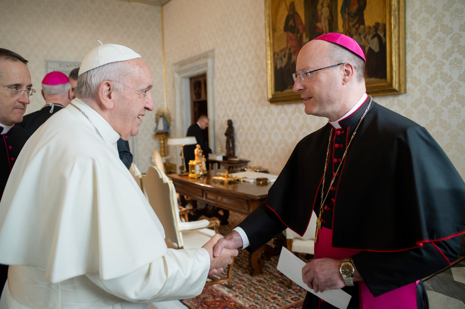 "Pope Francis greets Bishop W. Shawn McKnight of Jefferson City, Mo., as he meets with U.S. bishops from Iowa, Kansas, Missouri and Nebraska during their ""ad limina"" visits to the Vatican Jan. 16, 2020. The bishops were making their ""ad limina"" visits to report on the status of their dioceses to the Pope and Vatican officials."