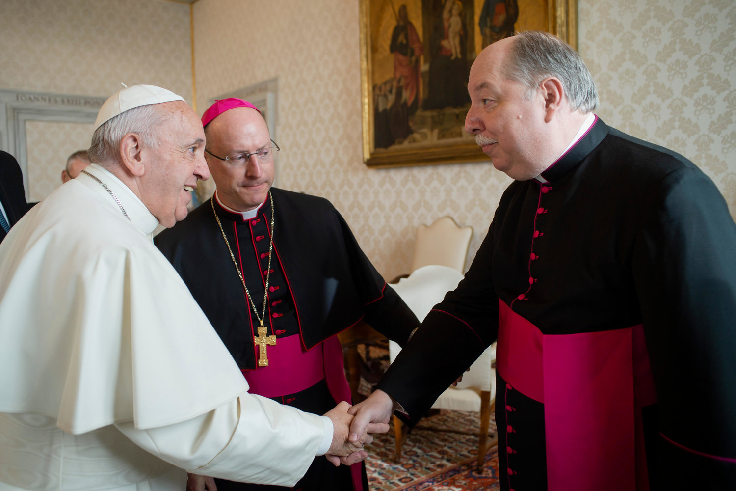 "Pope Francis greets Monsignor Robert A. Kurwicki, vicar general for the Diocese of Jefferson City, Mo., as he meets with U.S. bishops from Iowa, Kansas, Missouri and Nebraska during their ""ad limina"" visits to the Vatican Jan. 16, 2020. The bishops were making their ""ad limina"" visits to report on the status of their dioceses to the Pope and Vatican officials."