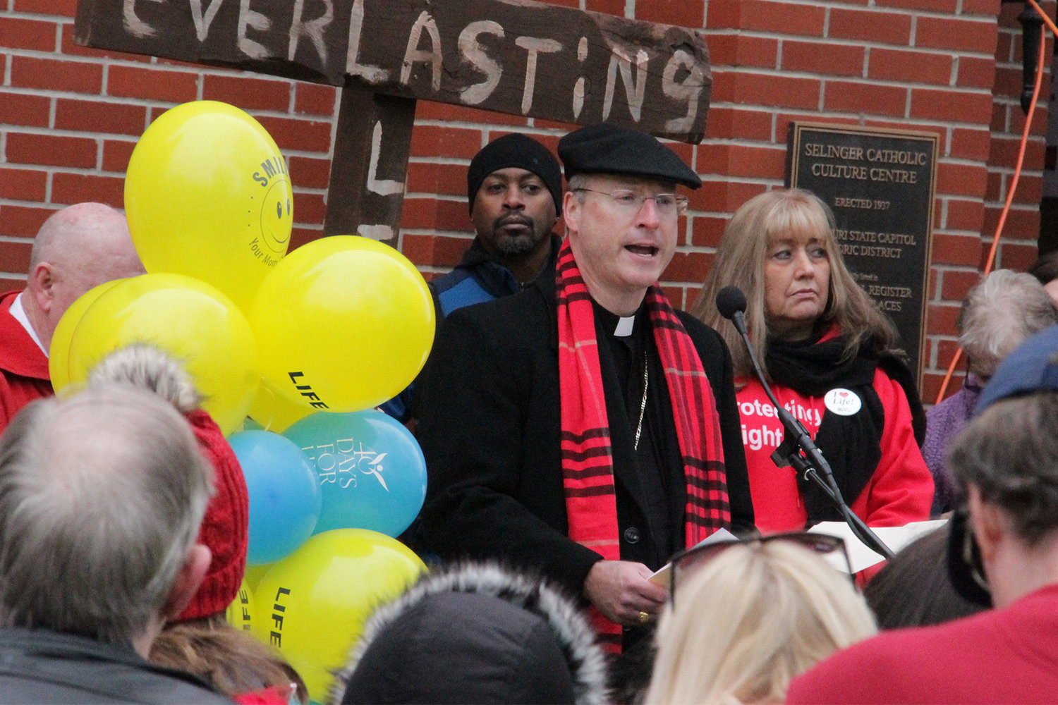 Bishop W. Shawn McKnight speaks at a pre-march rally outside the Selinger Centre at St. Peter Church during the Midwest March for Life, Feb. 1 in Jefferson City.