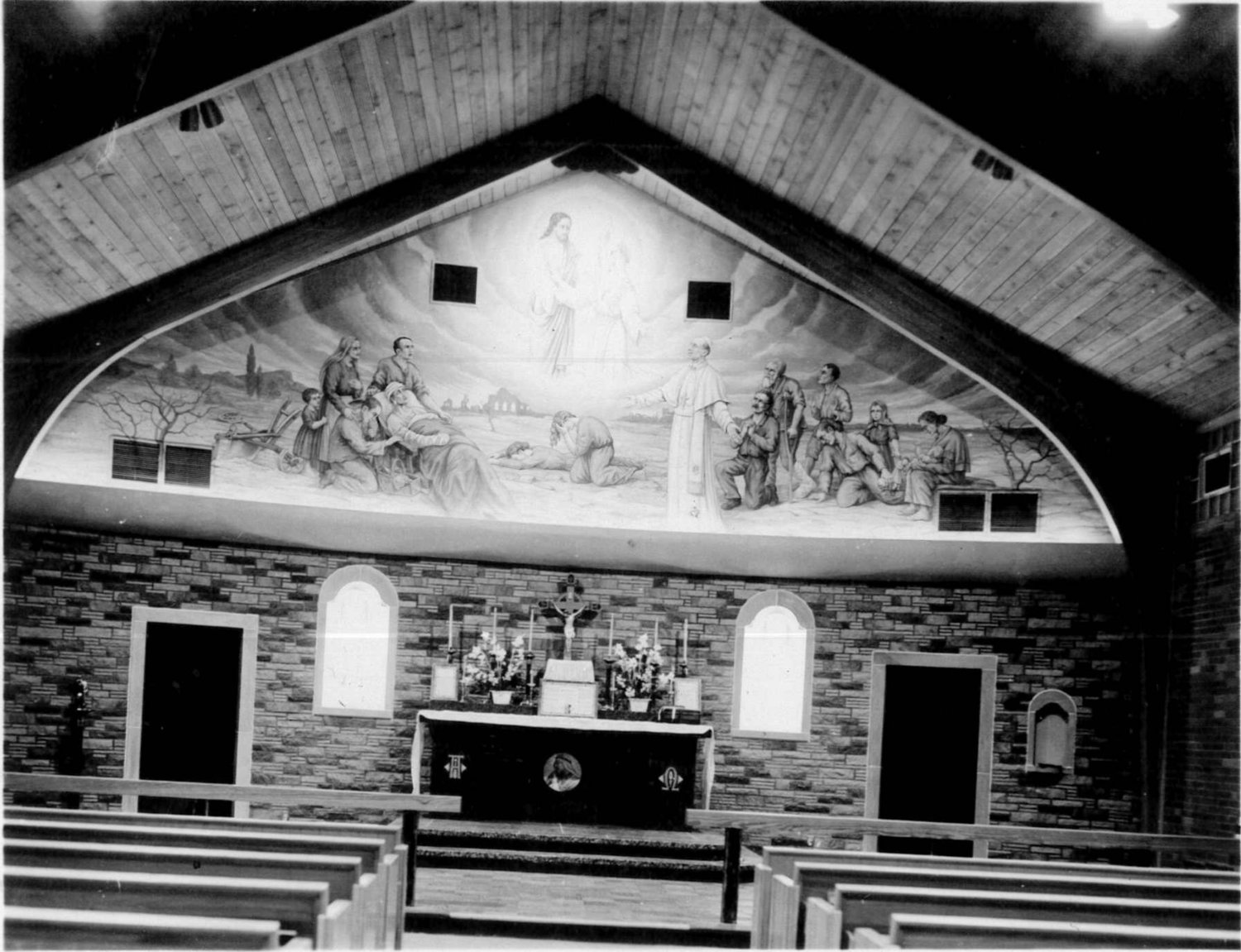 This file photo from May of 1958 shows what the Shikles Auditorium looked like when it was the chapel for the former La Salette Seminary in Jefferson City. The altar is now used for outdoor Masses at the Shrine of Our Lady of Sorrows in Starkenburg.