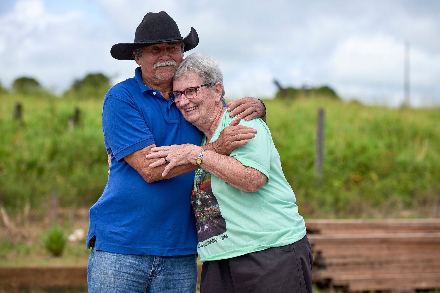 Sister Jane Dwyer, a U.S. member of the Sisters of Notre Dame de Namur, hugs a farmer after a meeting in the countryside near Anapu, in Brazil's northern Para state.