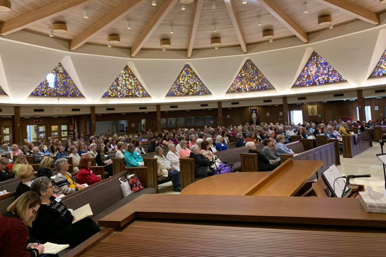 About 300 women from throughout the Jefferson City diocese take part in a diocesan Lenten women's retreat with inspirational Catholic author and speaker Kelly Wahlquist in the Cathedral of St. Joseph.