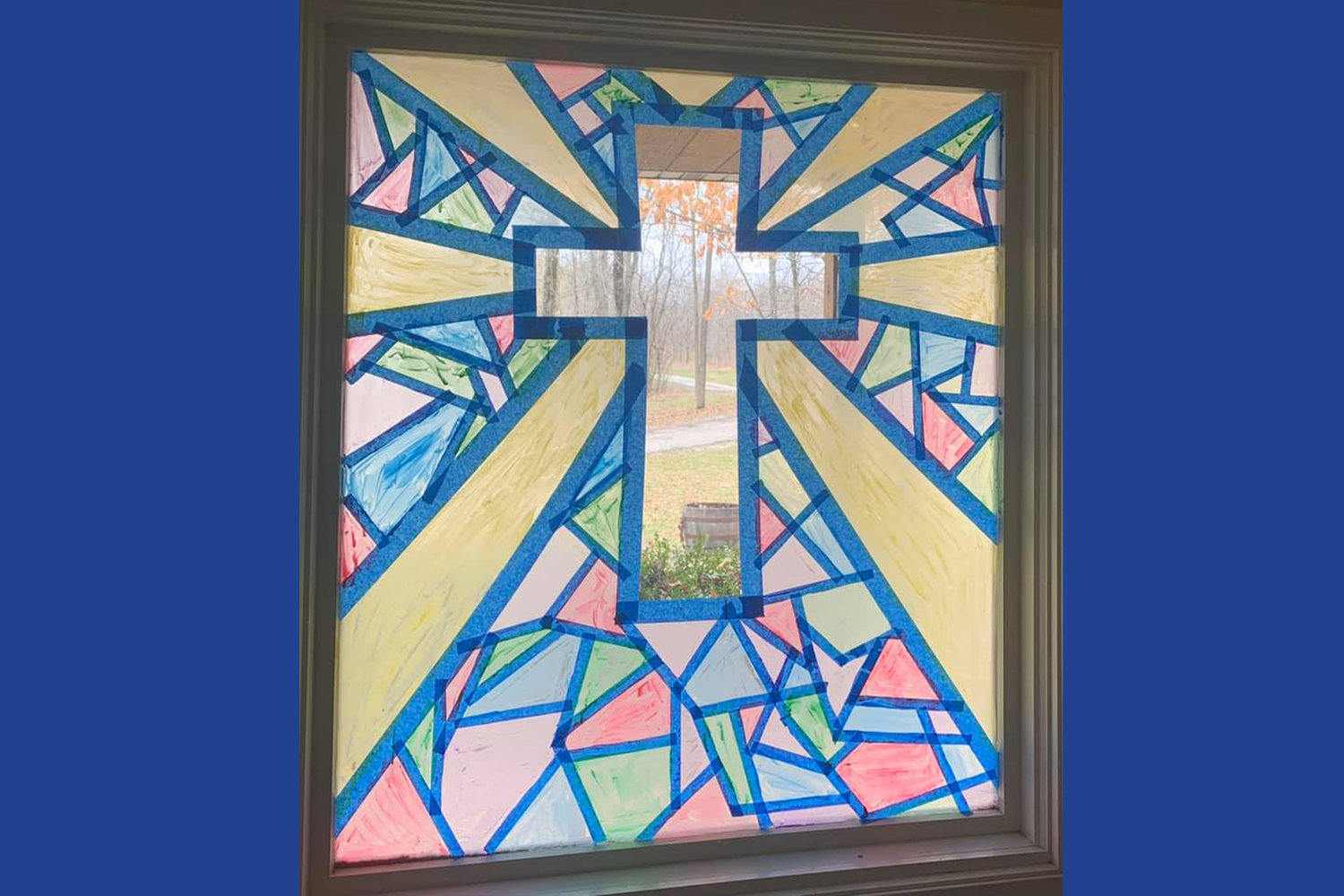 This is how the completed window looks. Lacey Timbrook found the idea for this children's project online.
