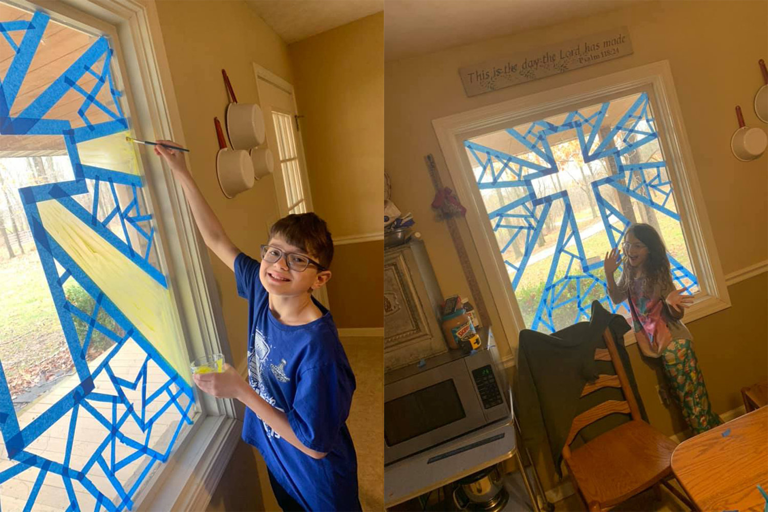 "The children of Shane and Lacey Timbrook use washable paint to decorate a window in their home during their time of ""sheltering in place"" due to the caronavirus pandemic, in this composite image."