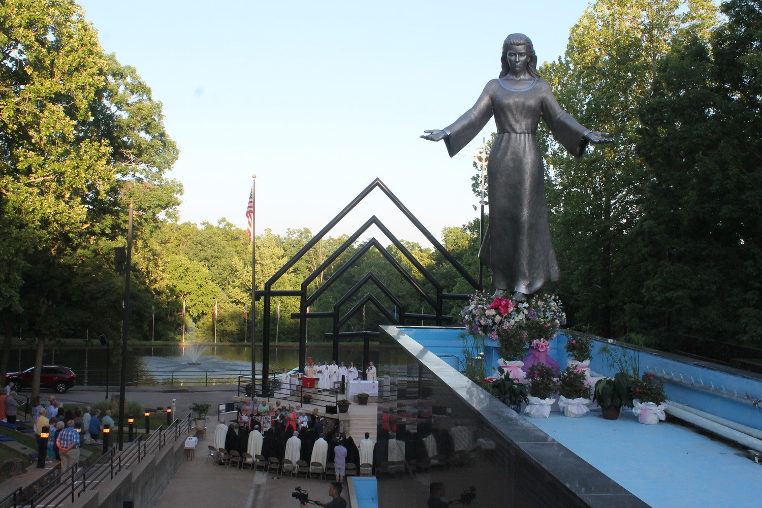This sculpture of the Blessed Mother adorns the National Shrine of Mary, Mother of the Church, in Laurie, near the Lake of the Ozarks. In this 2018 photo, Bishop W. Shawn McKnight celebrates Mass for the newly established feastday for Mary, Mother of the Church, on the Monday after Pentecost.
