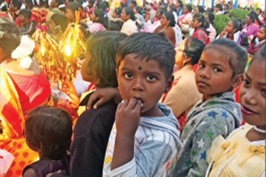 Children attend the golden jubilee celebration for the Cathedral of Our Lady of the Rosary in Kunkuri, India, in February 2020.