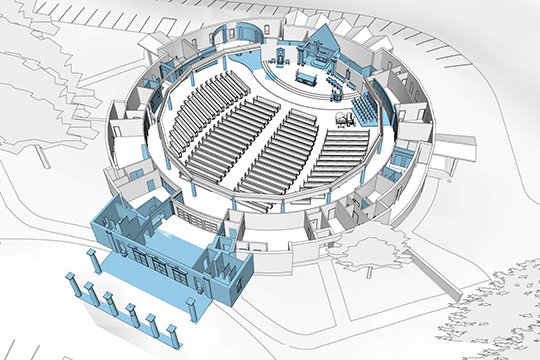 A computer model gives a bird's-eye view of proposed renovations to the Cathedral of St. Joseph in Jefferson City.