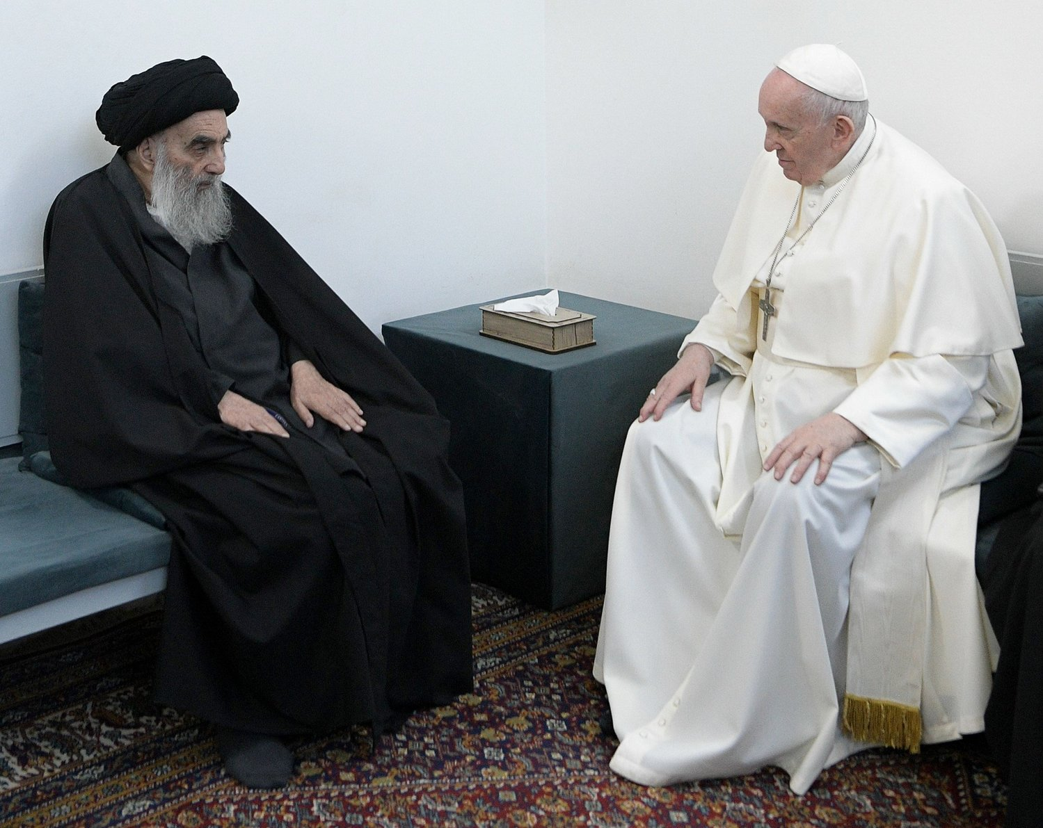 Pope Francis and Ayatollah Ali al-Sistani, one of Shiite Islam's most authoritative figures, meet during a courtesy visit in Najaf, Iraq, March 6, 2021.