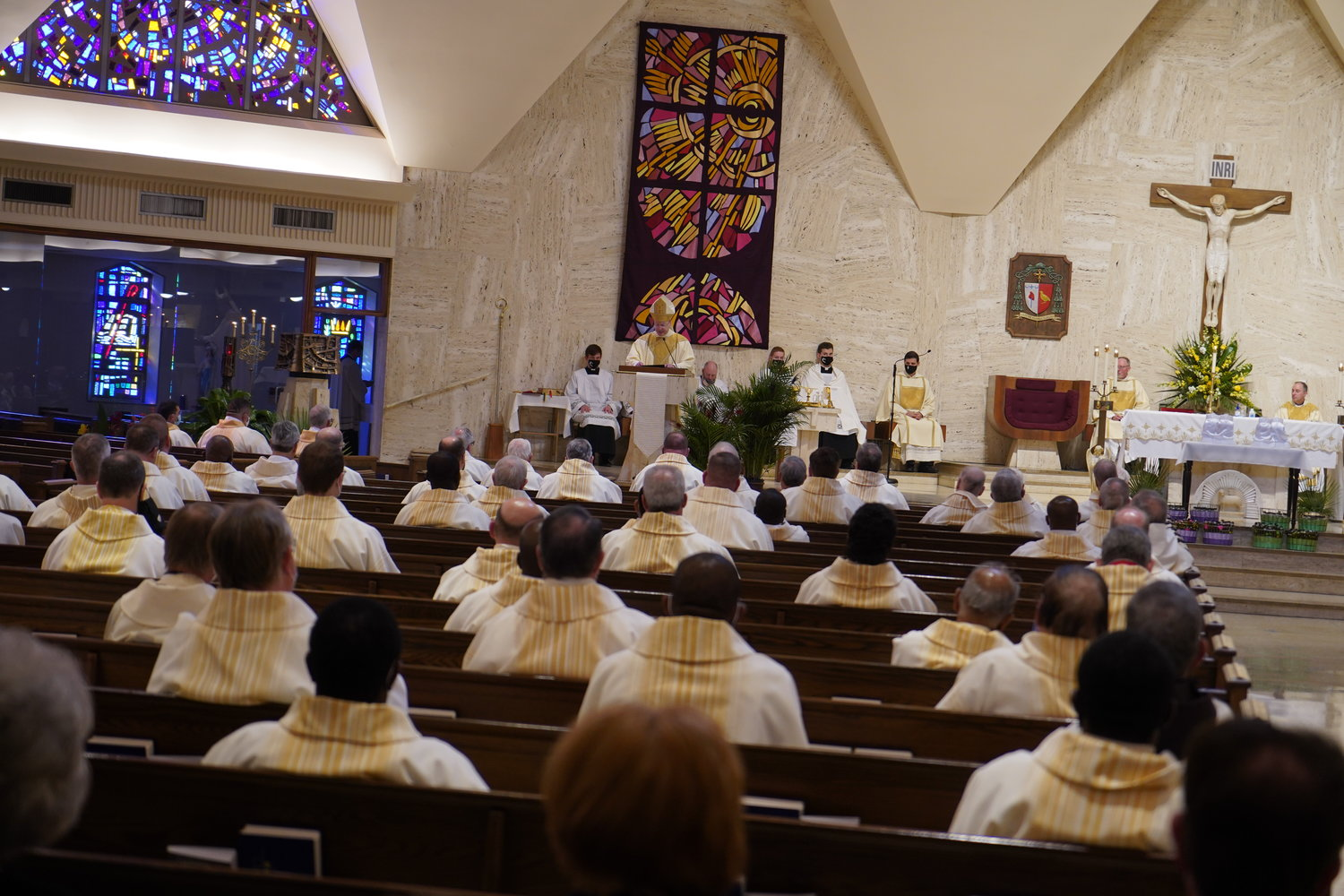 Bishop W. Shawn McKnight addresses the priests of the diocese in his homily during the Chrism Mass  on March 30, 2021, in the Cathedral of St. Joseph in Jefferson City.
