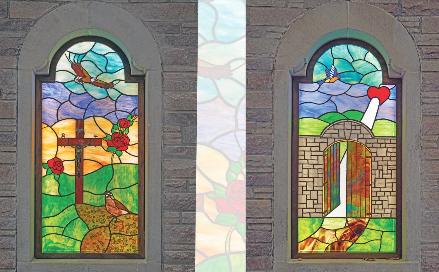 These two new art-glass windows were created by Jim Wisch for the chapel of the nearly completed Catholic Charities of Central and Northern Missouri (CCCNMO) headquarters in Jefferson City. The first represents the building's past use as a high school seminary chapel and gym, as well as CCCNMO's first 10 years of existence. The second points to the building's future of paving and illuminating the path to God through the gateway of concrete acts of charity and mercy.