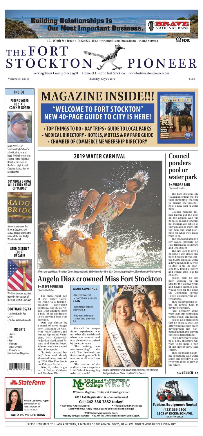 Thursday, July 25, 2019 | The Fort Stockton Pioneer