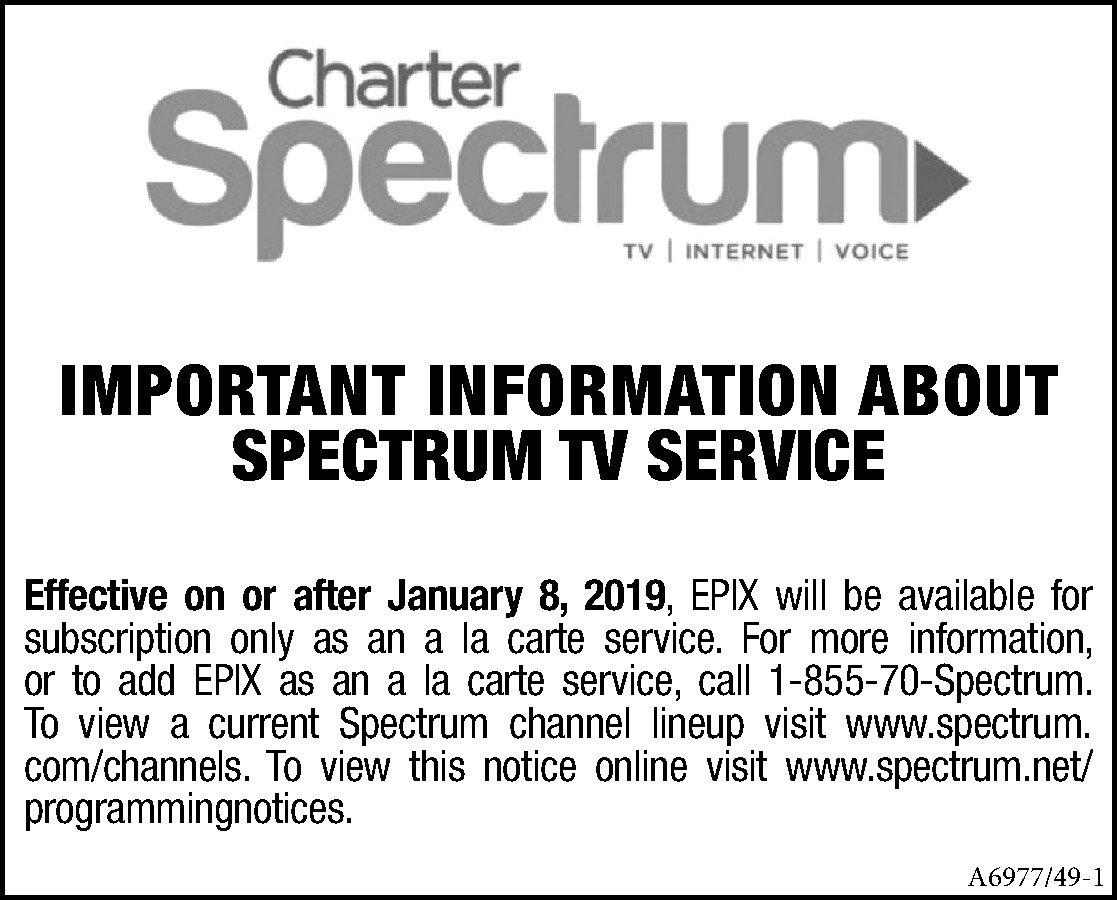 Charter Spectrum TV SERVICE NOTICE | The Mckenzie Banner