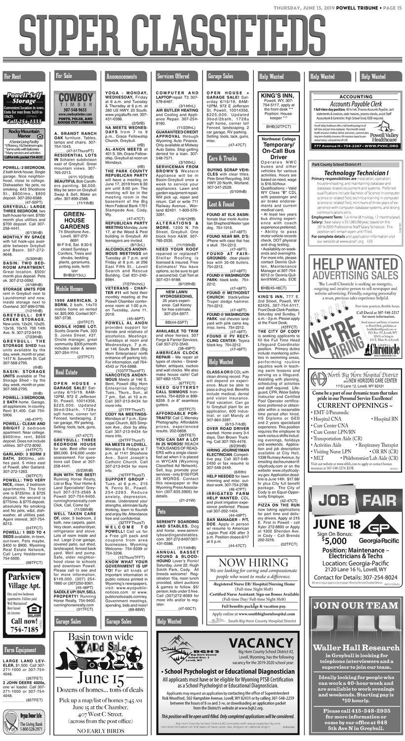 Classifieds 6 13 19 | Powell Tribune