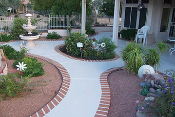 Desert Rose Concrete Coatings offers designs that mimic pavers, tile, brick, flagstone and more.