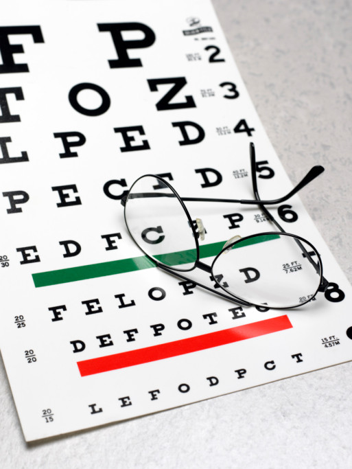 Eye exam chart and eyeglasses