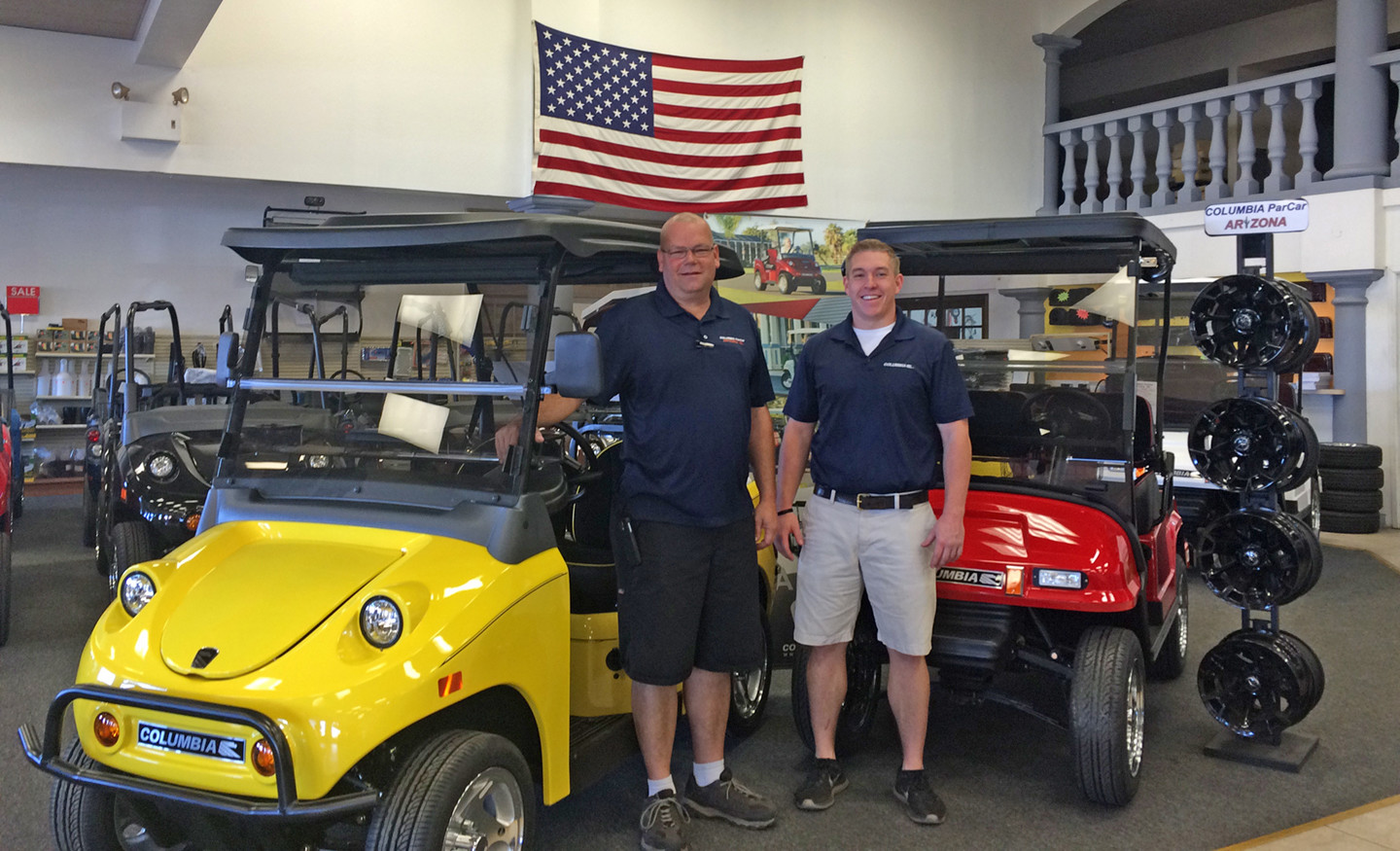 Columbia ParCar Arizona Service Manager Albert Tiffany (left) and Caleb  Amundson, vehicle solutions