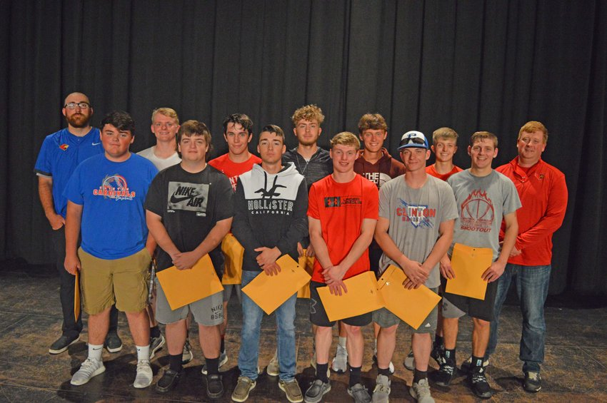 CARDINAL VARSITY LETTER WINNERS: Front row, Hayden McGuire, Westin Komer, Tyler Lutjen, Paul shields, Anthony Gumminger and Keaton Townsend. Back row, Coach Eric Silkwood, Gage Mantonya,  Noah Adams, Cade Mantonya, Jake Wirsig, Tyler Gardner and Coach John Lersch. Not all players were able to attend.  Coach Silkwood reviewed the season and outlined the clear improvement the team showed as the season unfolded. One stat he pointed out was the team's hitting average went up over 100 points in the second half of the season. Another glaring fact was the number of games (7) the team lost by one run. So if you are looking for a determined group of young ballplayers that showed a lot of improvement over the season it would be the 2021 Cards.