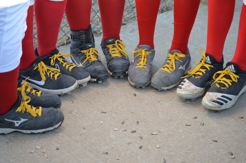 SOME LADY CARDS showed off their Gold Laces honoring local kids fighting cancer.