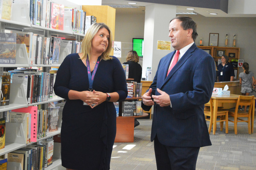 ON A MISSION, Missouri Secretary of State Jay Ashcroft recently visited and met with Henry County Library Director Stephanie Rogers to help the library continue to create lifelong learners.