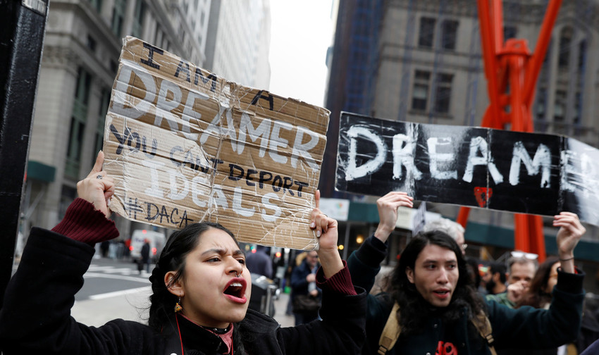 "Activists and recipients of the Deferred Action for Childhood Arrivals, or DACA program, march up Broadway in New York City Feb. 15 during the start of their ""Walk to Stay Home,"" a five-day 250-mile walk from New York to Washington to demand that Congress pass a clean DREAM Act to save the program."