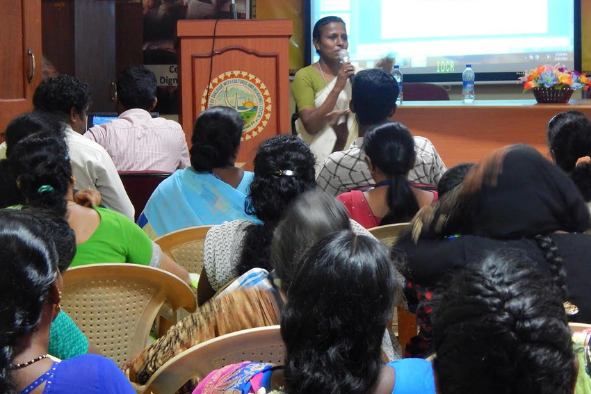 Sister Josephine Amala Valarmathi addresses a meeting of domestic workers in Chennai, India.