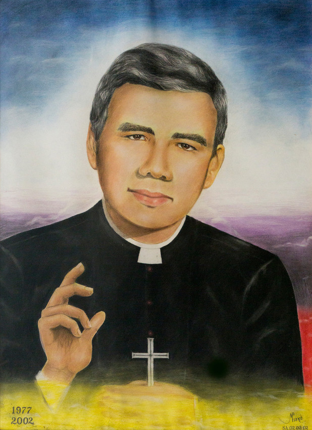 A painting of Jesuit Father Rutilio Grande is seen in the rectory of San Jose Church in the town of Aguilares, El Salvador. Father Grande was killed 40 years ago, March 12, 1977, while on his way to a novena.