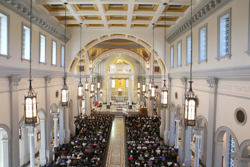 "Prelates and others gather for the dedication Mass for the Cathedral of the Most Sacred Heart of Jesus March 3 in Knoxville, Tenn. Bishop Richard F. Stika of Knoxville greeted the gathering of more than 1,000 with a simple phrase after the three-year building project: ""Well, we made it."""