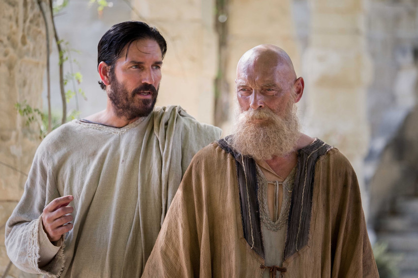 "Jim Caviezel as Luke and James Faulkner as Paul are seen in the film ""Paul, Apostle of Christ."""