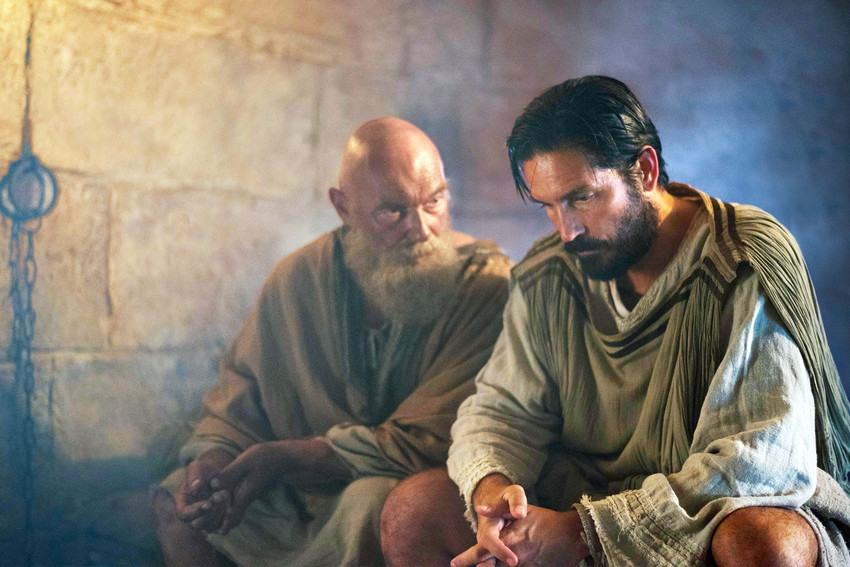 """Joanne Whalley as Priscilla, Jim Caviezel as Luke and John Lynch as Aquila are seen in the film """"Paul, Apostle of Christ."""" In an interview with Catholic News Service, Dominican Sister Laurie Brink, an associate professor of New Testament studies at Catholic Theological Union in Chicago, sorts out the plausible and the implausible in the movie, to be released nationwide March 23."""