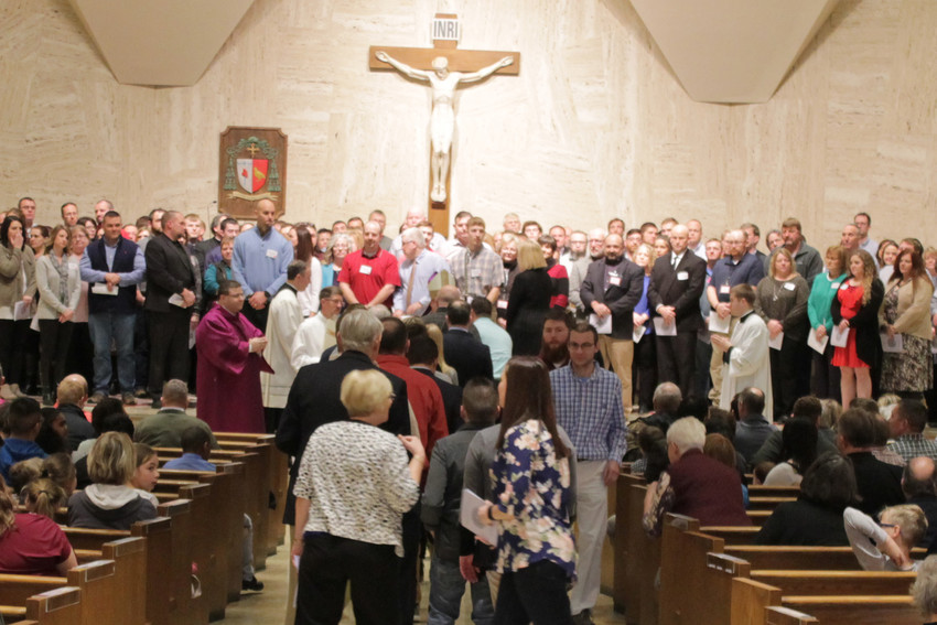 People seeking full communion with the Catholic Church in parishes throughout central and northeastern Missouri gathered with Bishop W. Shawn McKnight in the Cathedral of St. Joseph on the First Sunday of Lent for the Rite of Election and Call to Continuing Conversion. Now, they are in the last week of preparation to receive sacraments of initiation at the Easter Vigil.