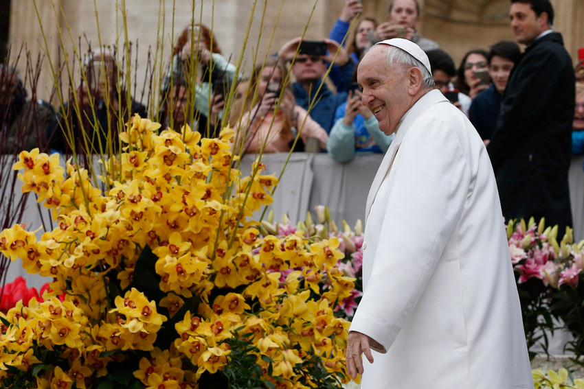Pope Francis walks near Easter flowers during his general audience in St. Peter's Square at the Vatican April 4.
