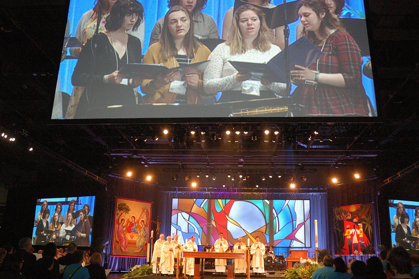 More than 2,000 people attend the April 3 opening Mass at the Duke Energy Convention Center for the 2018 National Catholic Educational Association Convention and Expo held April 3-5 in Cincinnati.