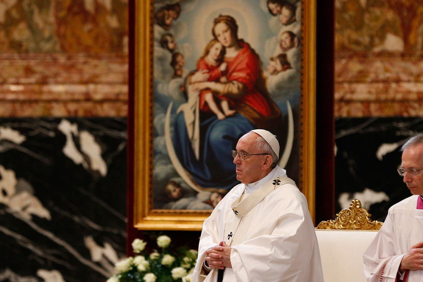 A Marian image is seen April 10 as Pope Francis celebrates Mass in St. Peter's Basilica at the Vatican with hundreds of priests who are missionaries of mercy. The Pope has continued the mandate of the missionaries of mercy.