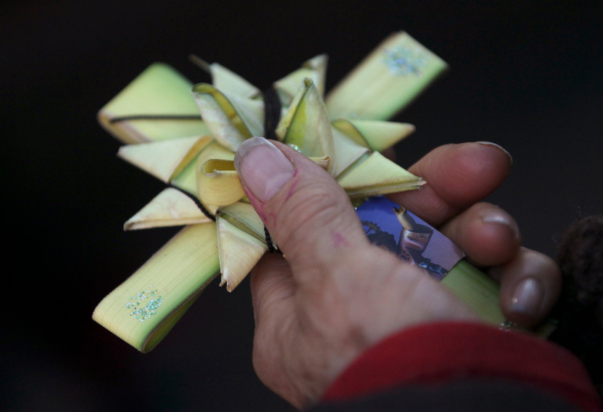 A pilgrim holds a cross made of palm fronds during a Palm Sunday celebration outside a church in Bogota, Colombia, April 13. Also known as Passion Sunday, this first day of Holy Week commemorates Christ's triumphal entry into Jerusalem before his crucifixion.