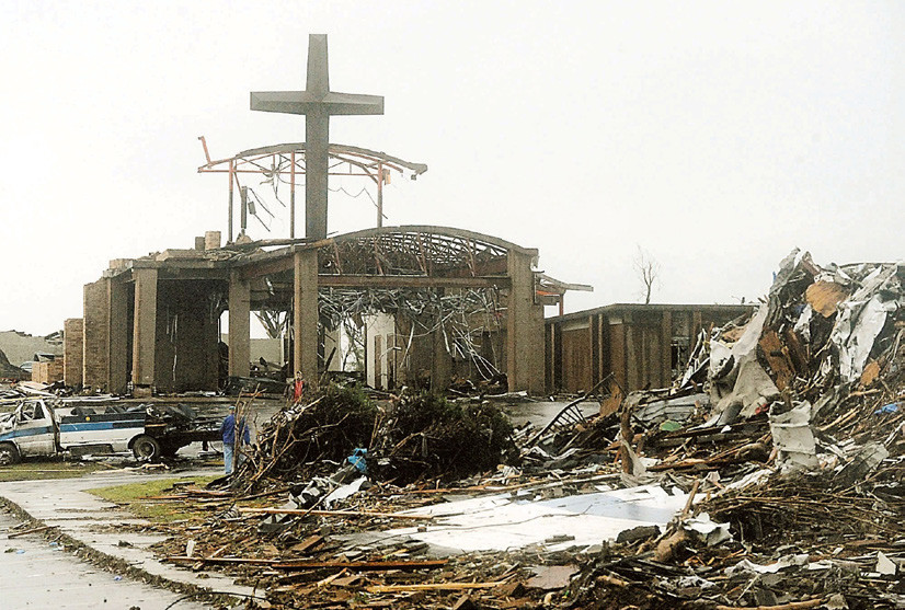 St. Mary Church in Joplin, built while the late Father Sylvester Bauer, a Freeburg native, was pastor, was in the direct line of an EF5-intensity tornado that struck Joplin on May 22, 2011. RIGHT: Tornado-ravaged St. Mary Church was rebuilt with help from the U.S. Catholic bishops' Home Missions Appeal.