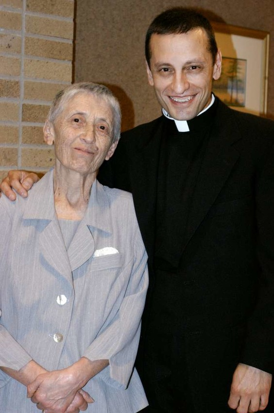 Bishop Frank J. Caggiano is pictured with his mother, Gennarina, in Brooklyn, N.Y., on the day he was ordained an auxiliary bishop of the Brooklyn Diocese in 2006. In 2013 he was named to head the Diocese of Bridgeport, Conn.