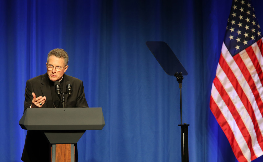 Archbishop Timothy P. Broglio of the U.S. Archdiocese for the Military Services is seen in Washington June 6, 2017. He is chairman of the U.S. bishops' Committee on International Justice and Peace.