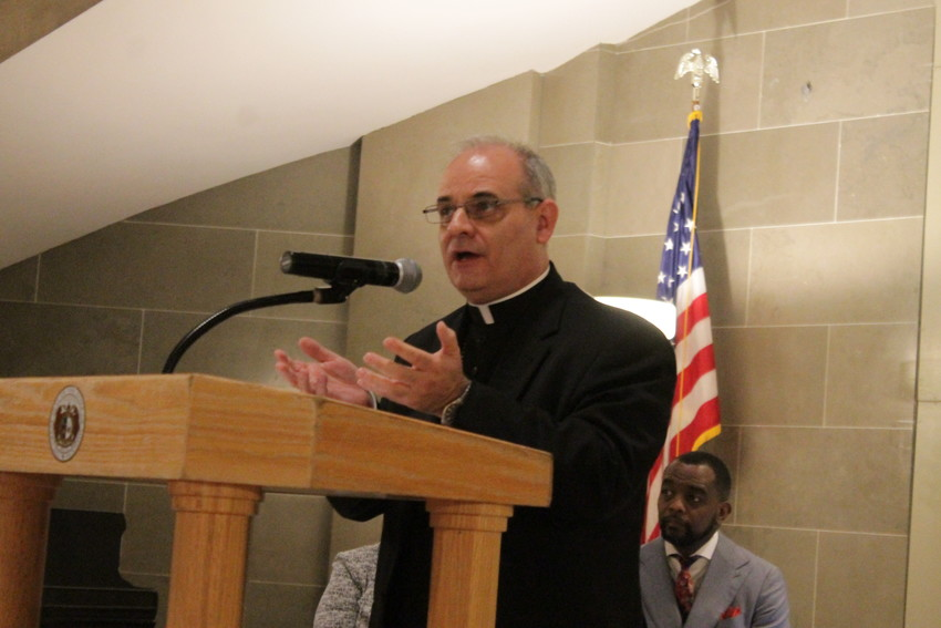 Bishop Mark S. Rivituso, auxiliary bishop of St. Louis, addresses participants in an interchurch prayer service in the Missouri State Capitol Rotunda on May 3, the National Day of Prayer.
