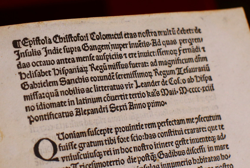 A copy of a Christopher Columbus letter, stolen from the Vatican Library and returned by the United States, is seen displayed at the Vatican June 14.