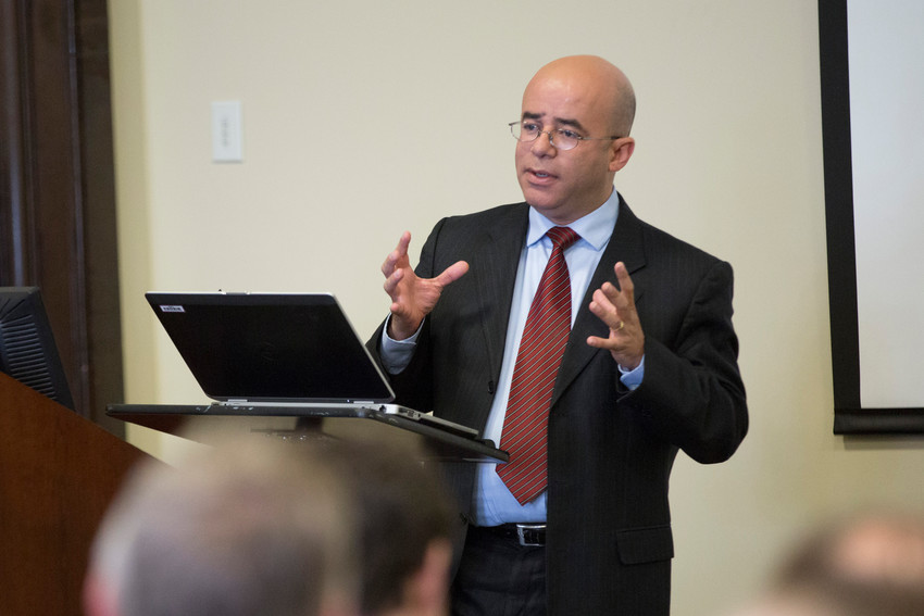 Hosffman Ospino, assistant professor of theology and religious education at Boston College's School of Theology and Ministry, delivers a lecture in 2017 at The Catholic University of America in Washington. Ospino told Catholic News Service in an interview that emerging in the national encuentro process as it unfolds is the need for all U.S. church leaders to strengthen outreach to Hispanic youth and young adults.