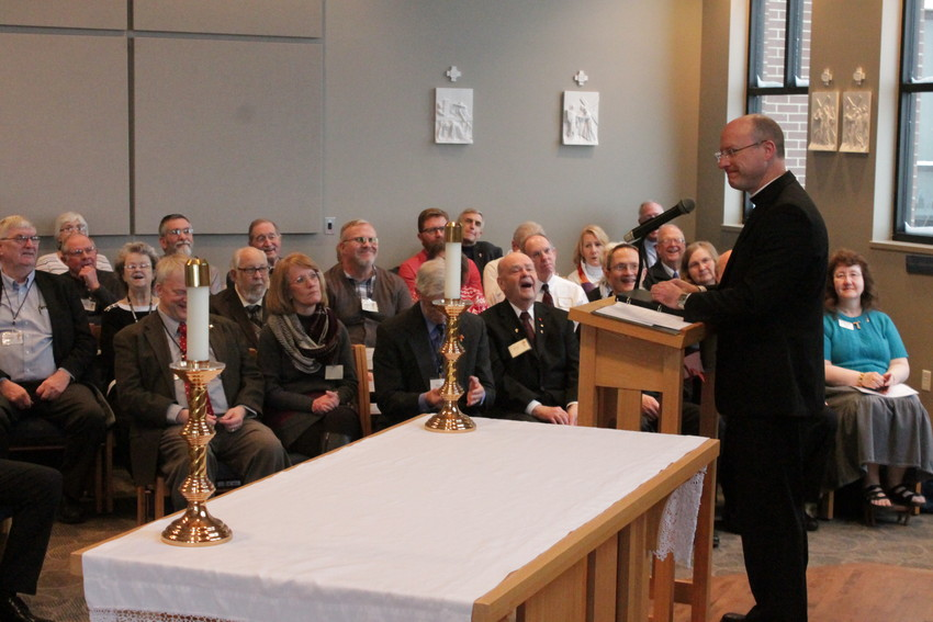 Bishop W. Shawn McKnight speaks to permanent deacons and their wives on Feb. 4, two days before his ordination and installation as bishop of the Jefferson City diocese.