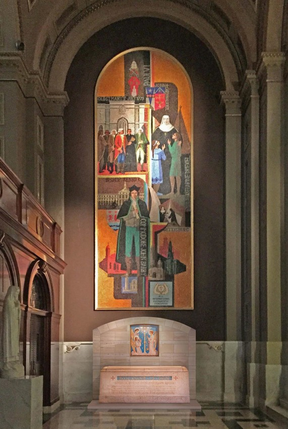 An artist's rendering shows the design of St. Katharine Drexel's tomb and its location at the rear of the Cathedral Basilica of Ss. Peter and Paul in Philadelphia. The work to relocate it from its current shrine in Bensalem, Pa., is being funded by the Connelly Foundation and expected to be completed in coming weeks. A dedication Mass will be celebrated Nov. 18.