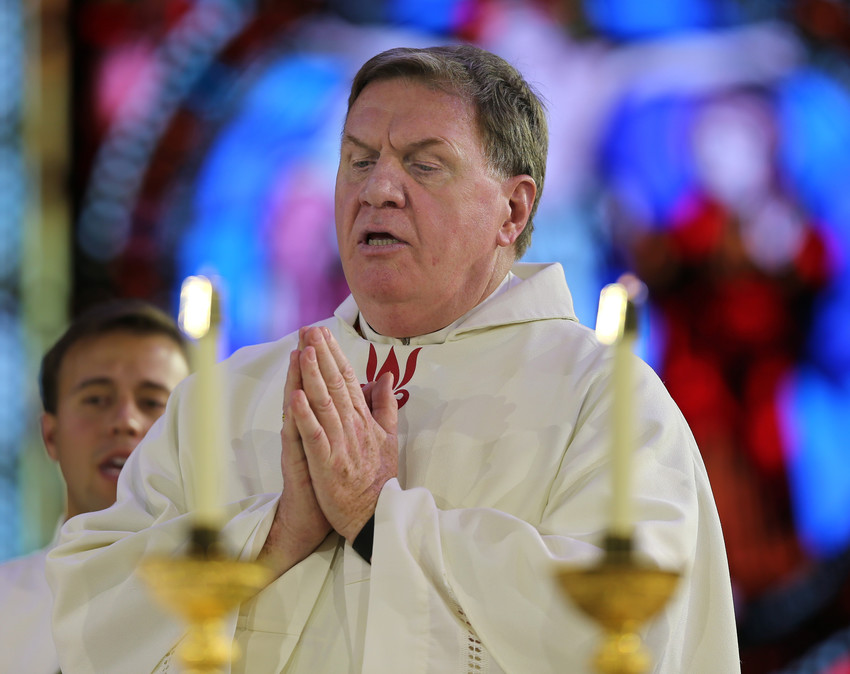 Cardinal Joseph W. Tobin of Newark, New Jersey, concelebrates Mass during the 2017 convocation of Catholic leaders in Orlando, Fla. The presence in the United States of about 3,000 priests and religious from countries in Africa is a great contribution to the U.S., Cardinal Tobin told Catholic News Service during the July 13-23 meeting of the Association of Member Episcopal Conferences in Eastern Africa, known by the acronym AMECEA.