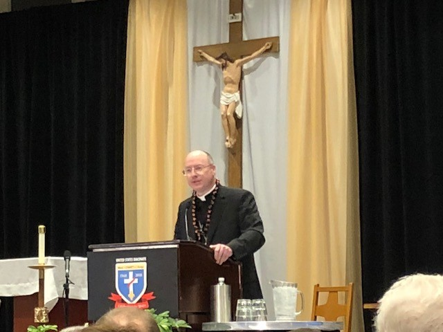 "Bishop W. Shawn McKnight delivers his keynote presentation, ""Understanding the Diaconate: 50 Years of Popes and Praxis,"" July 24 during a plenary session of the National Diaconate Congress in New Orleans."