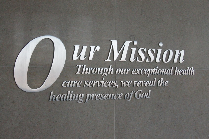 The SSM Health mission statement is posted near the main entrances of the SSM Health St. Mary's hospitals in Jefferson City and Mexico.