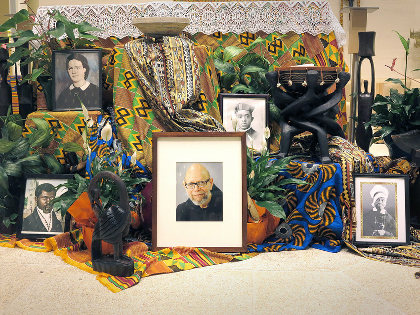 Pictures of five candidates for sainthood are featured on the altar at St. Katharine Drexel Chapel of Xavier University of Louisiana in New Orleans July 31. An announcement was made that day that Xavier would be the center for coordinating the advancement of all African-American sainthood causes.