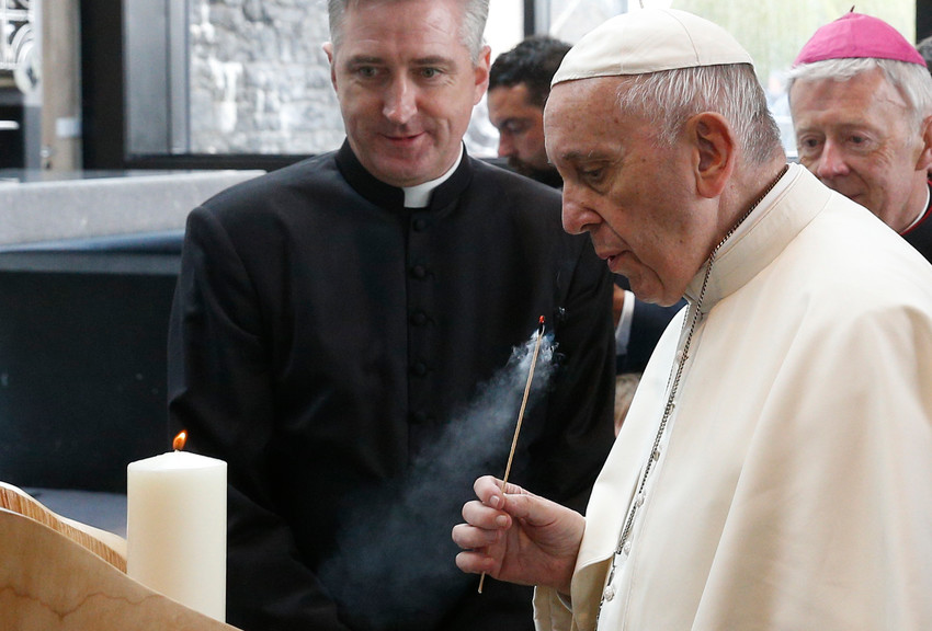 Pope Francis visits the Chapel of the Apparitions at the Knock Shrine in Knock, Ireland, Aug. 26.