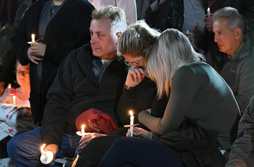 A victims family members mourn during a candlelight vigil Oct. 8 in Amsterdam, N.Y., for the victims of the limousine crash in Schoharie. The driver, Scott Lisincchia, 53, died in the Oct. 6 accident along with the 17 others inside the limousine and two pedestrians. It is the deadliest road accident in the United States in more than 13 years.