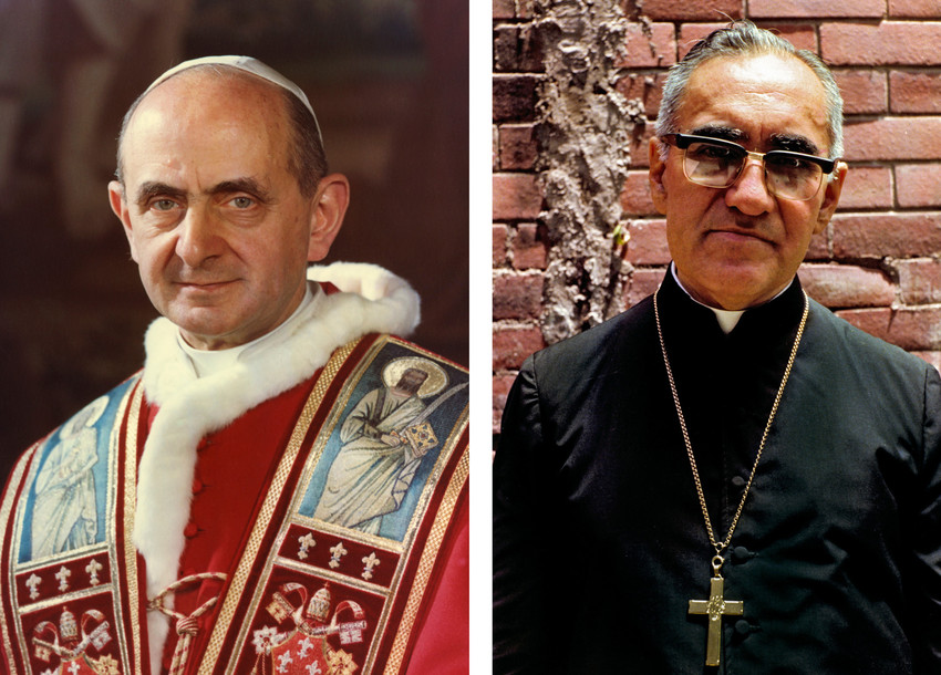 Pope Francis is scheduled to canonize Blesseds Paul VI and Oscar Romero Oct. 14. They are pictured in undated combination photos.